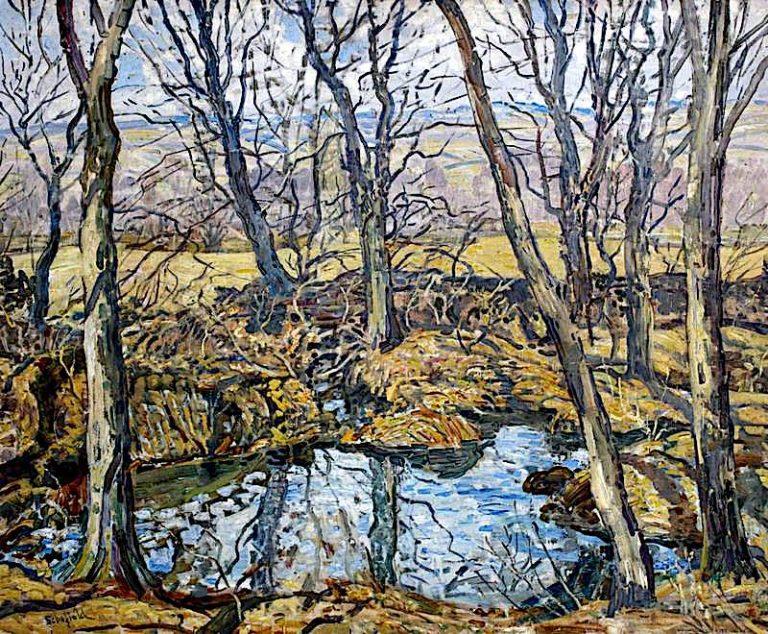 Godolphin Pond in Autumn | Walter Elmer Schofield | oil painting