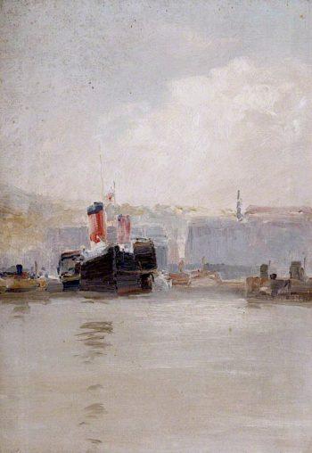 Red - Funnelled Steamer | John Miller Nicholson | oil painting