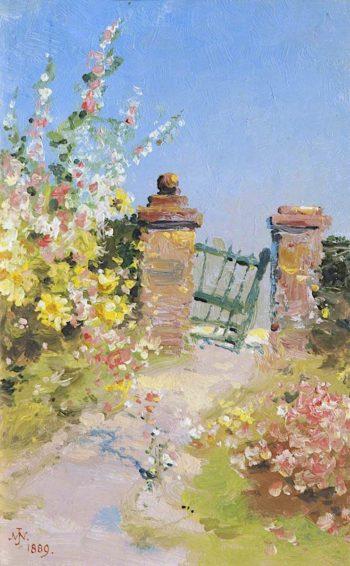 Garden Gate with Hollyhocks | John Miller Nicholson | oil painting
