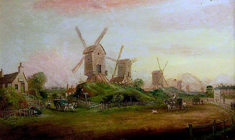 Windmills on the Forest   Thomas Cooper Moore   oil painting