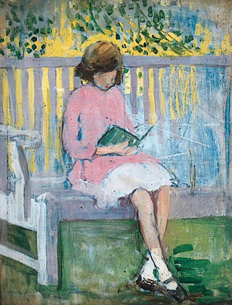 Girl Reading | Mary Ethel Hunter | oil painting