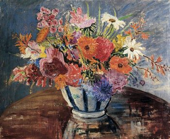 Flowers in a Blue Striped Vase | Mary Ethel Hunter | oil painting