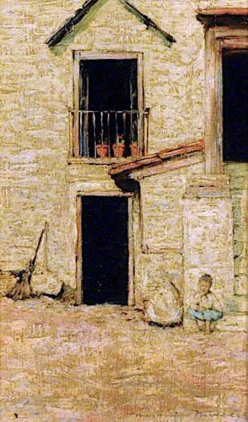 A Courtyard | Mortimer Menpes | oil painting