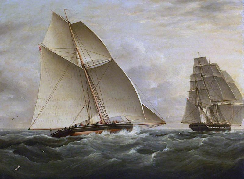 The East Indiaman Victorine Pursued by the Revenue Cutter Prince George | William John Huggins | oil painting