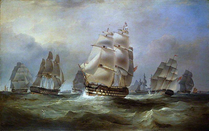 East Indiamen in the China Seas | William John Huggins | oil painting
