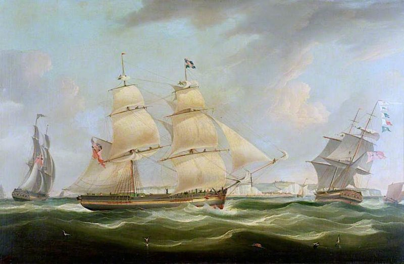 Shipping off Dover   William John Huggins   oil painting
