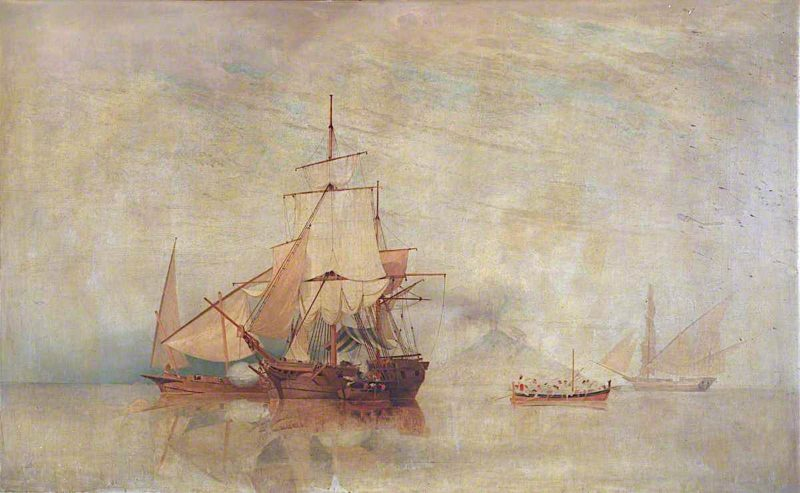 A Ketch in Action with Feluccas | William John Huggins | oil painting