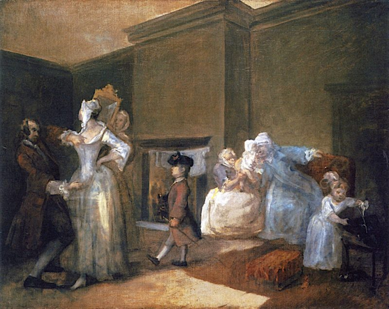 The Happy Marriage -  5. The Staymaker (sketch)   William Hogarth   oil painting