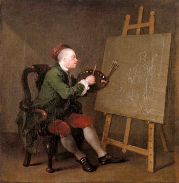 Self - Portrait Painting the comic Muse | William Hogarth | oil painting