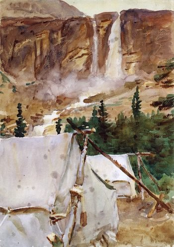 Camp and Waterfall | John Singer Sargent | oil painting