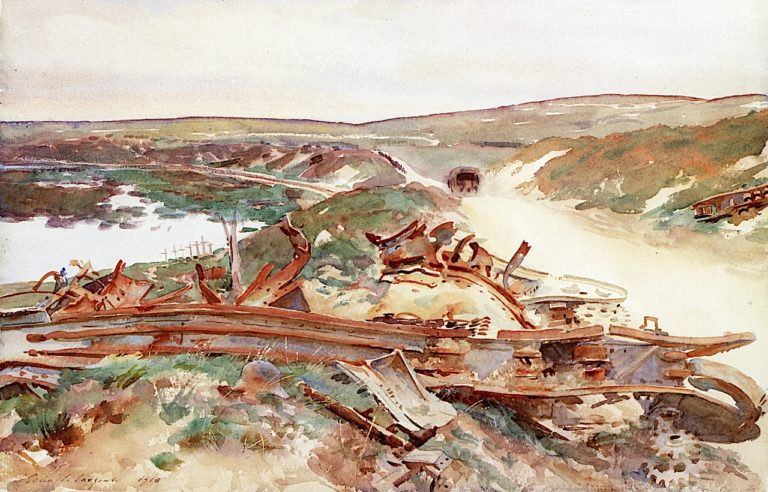 A Wrecked Tank   John Singer Sargent   oil painting