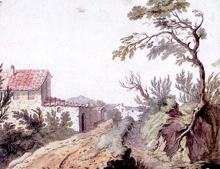 An Italian Hamlet   Alexander Cozens   oil painting