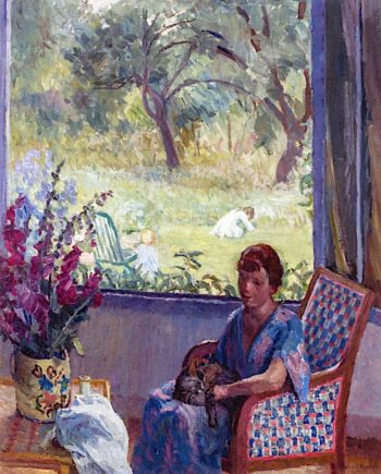 Seated Woman with Cat   Anna Wood Brown   oil painting
