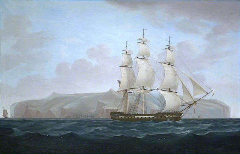 A Royal Navy Two - Decker off St Helena   William John Huggins   oil painting