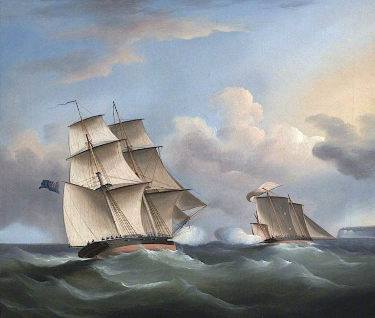 Action between a Brig and a Smugglers Lugger | William John Huggins | oil painting