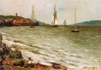 Boats on the Hudson   Bayard Henry Tyler   oil painting