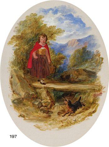 Little Girl on Bridge with Scottie Dog | Arthur Fitzwilliam Tait | oil painting