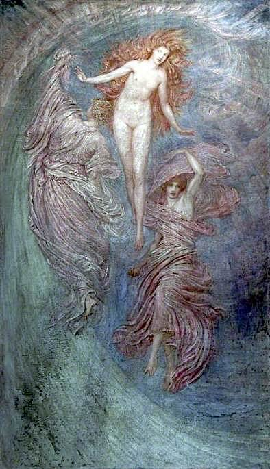 Aphrodite between Eros and Himeros | Sir William Blake Richmond | oil painting