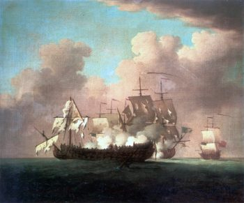 The Capture of the Princesa   Peter Monamy   oil painting