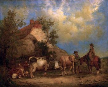 At the Farm | William Shayer Snr | oil painting