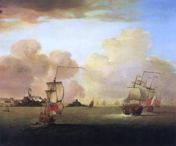 British Men - o - War and a Merchatman off Elizabeth Castle