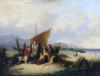 Beach Scene   William Shayer Snr   oil painting
