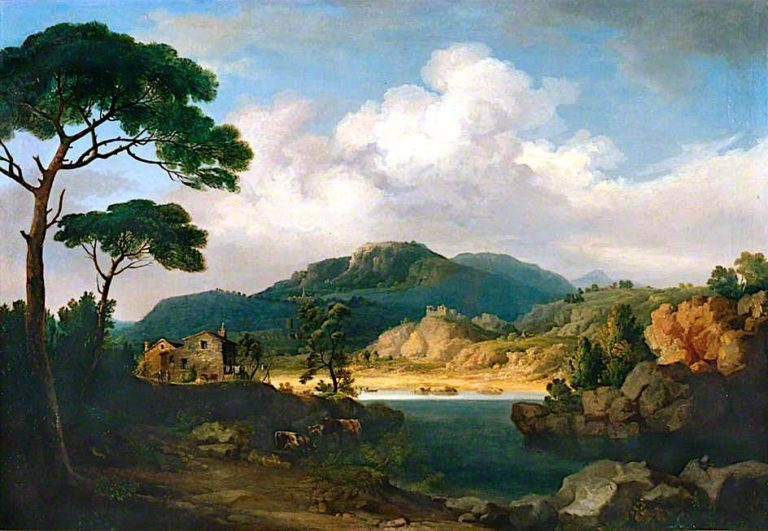 Italianate Landscape with Umbrella Pines and River | John Tobias Young | oil painting