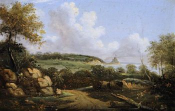 Landscape and Sea View Looking towards Gorey Castle | John Tobias Young | oil painting