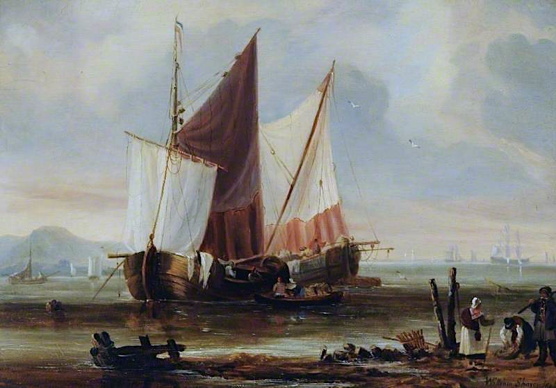 Coast Scene with a Dutch Fishing Craft | William Shayer Snr | oil painting