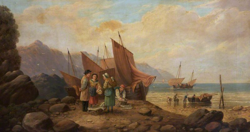 Coast Scene with Figures | William Shayer Snr | oil painting