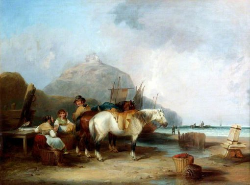Coast Scene with Figures and Horses | William Shayer Snr | oil painting