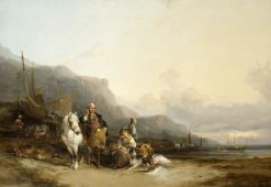 Coast Scene with Fisherfolk   William Shayer Snr   oil painting