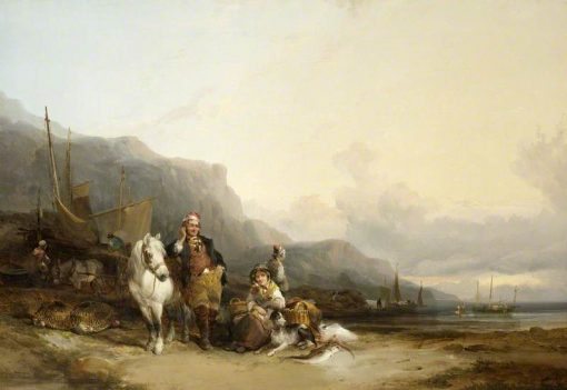Coast Scene with Fisherfolk | William Shayer Snr | oil painting