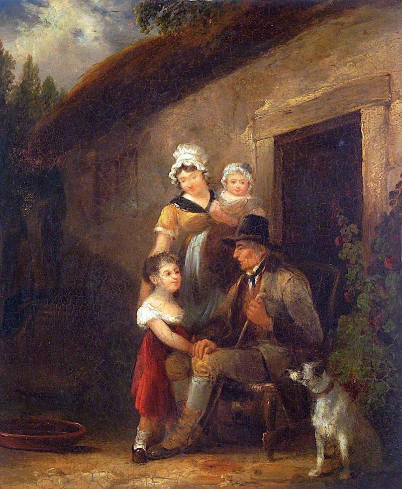 Cottage Door Scene | William Shayer Snr | oil painting
