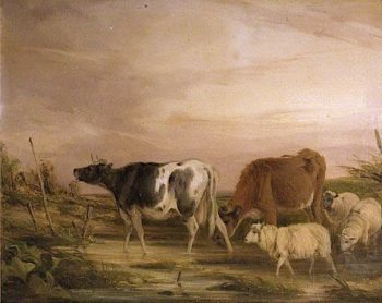 Cows and Sheep (panel 2 of 2) | William Shayer Snr | oil painting