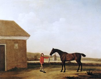 Hyaena at Newmarket with one of Jenison Shaftos Stable - Lads | George Stubbs | oil painting
