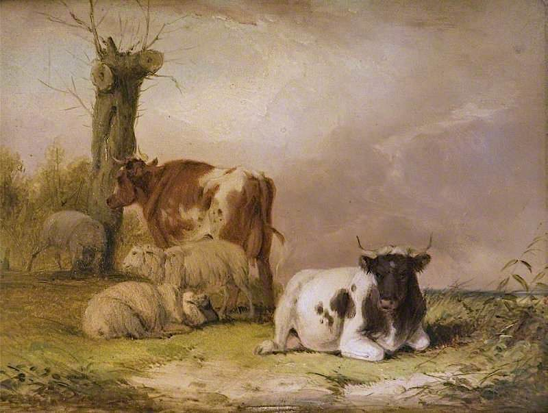 Cows and Sheep (panel 1of 2) | William Shayer Snr | oil painting