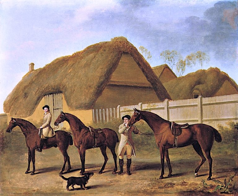 Three Hunters and Two Grooms Waiting in a Stable Yard | George Stubbs | oil painting