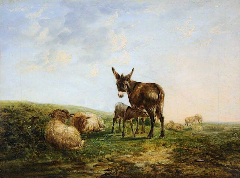 Donkey and Sheep | William Shayer Snr | oil painting