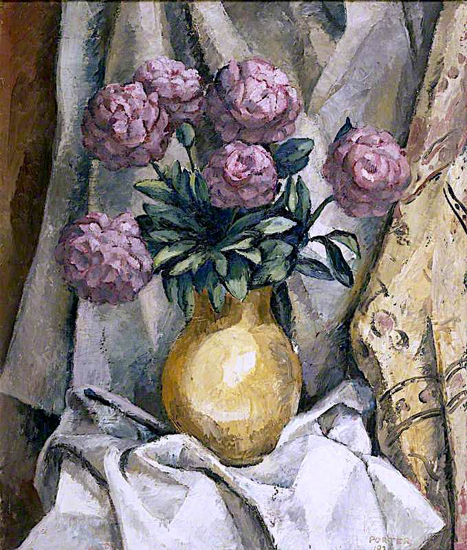 Peonies in a Yellow Vase | Frederick James Porter | oil painting