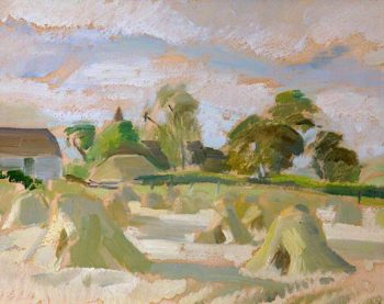 Haystacks in a Landscape | Frederick James Porter | oil painting