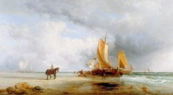 Dutch Herring Bus Unloading on the Beach | William Shayer Snr | oil painting