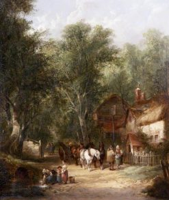 Figures Outside a Tavern | William Shayer Snr | oil painting
