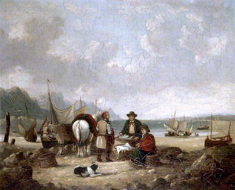 Fisher Folk by the Sea | William Shayer Snr | oil painting