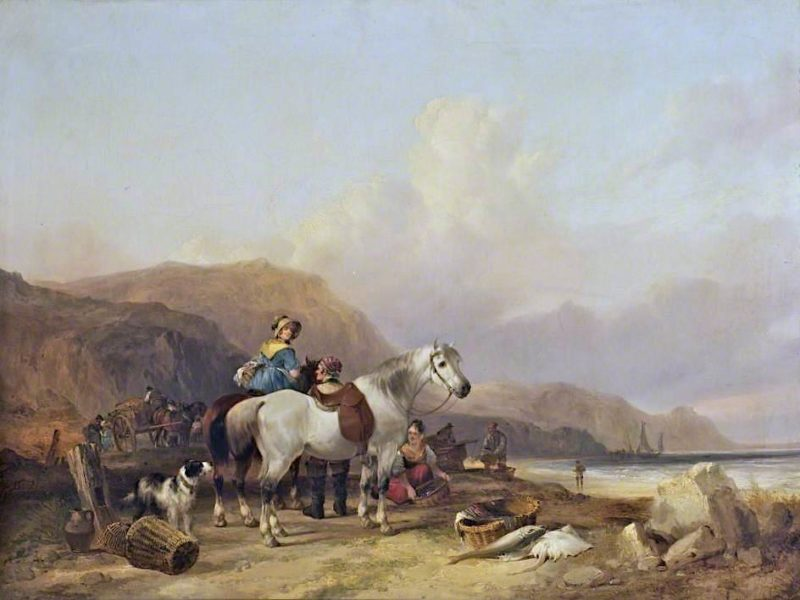 Fisherfolk with a White Horse on the Shore | William Shayer Snr | oil painting