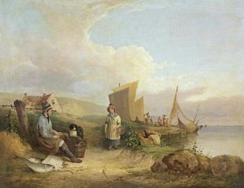 Fisherman Mending His Nets | William Shayer Snr | oil painting