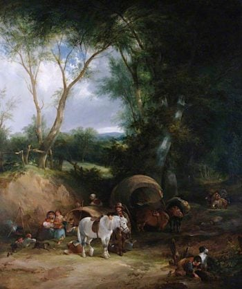 Gypsy Encampment in the New Forest | William Shayer Snr | oil painting