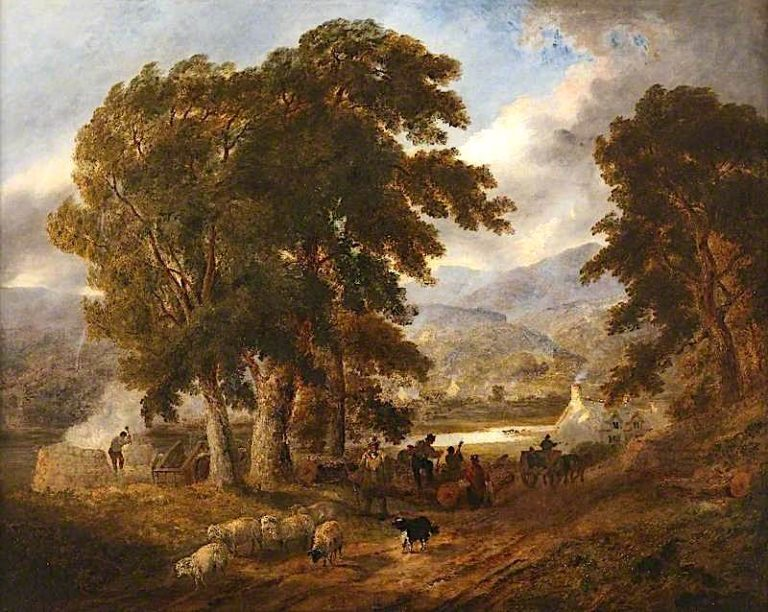 Lake near Dolgelly on the Barmouth Road   Joseph Murray Ince   oil painting