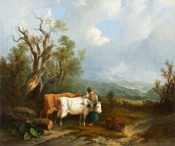 Landscape with Cattle and Figure of a Woman | William Shayer Snr | oil painting
