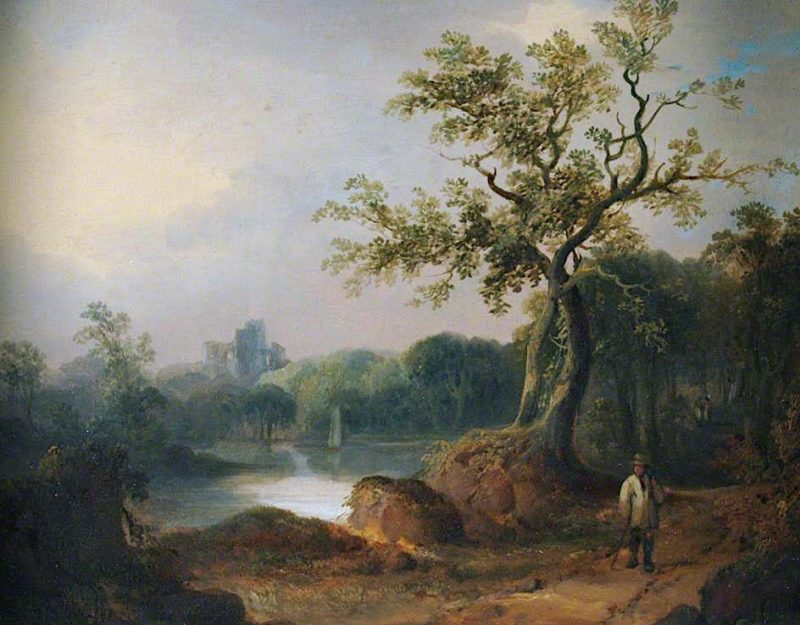 Landscape with Figures on a Path   William Shayer Snr   oil painting